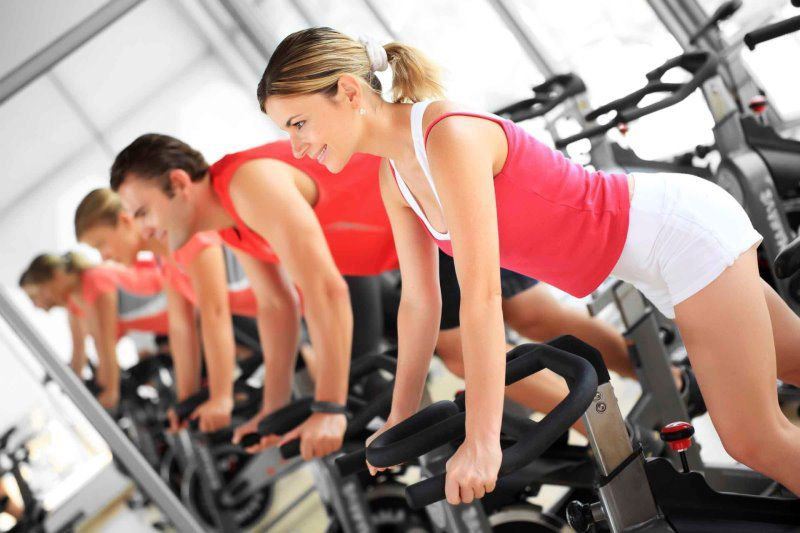 fitness and training gym spinning class